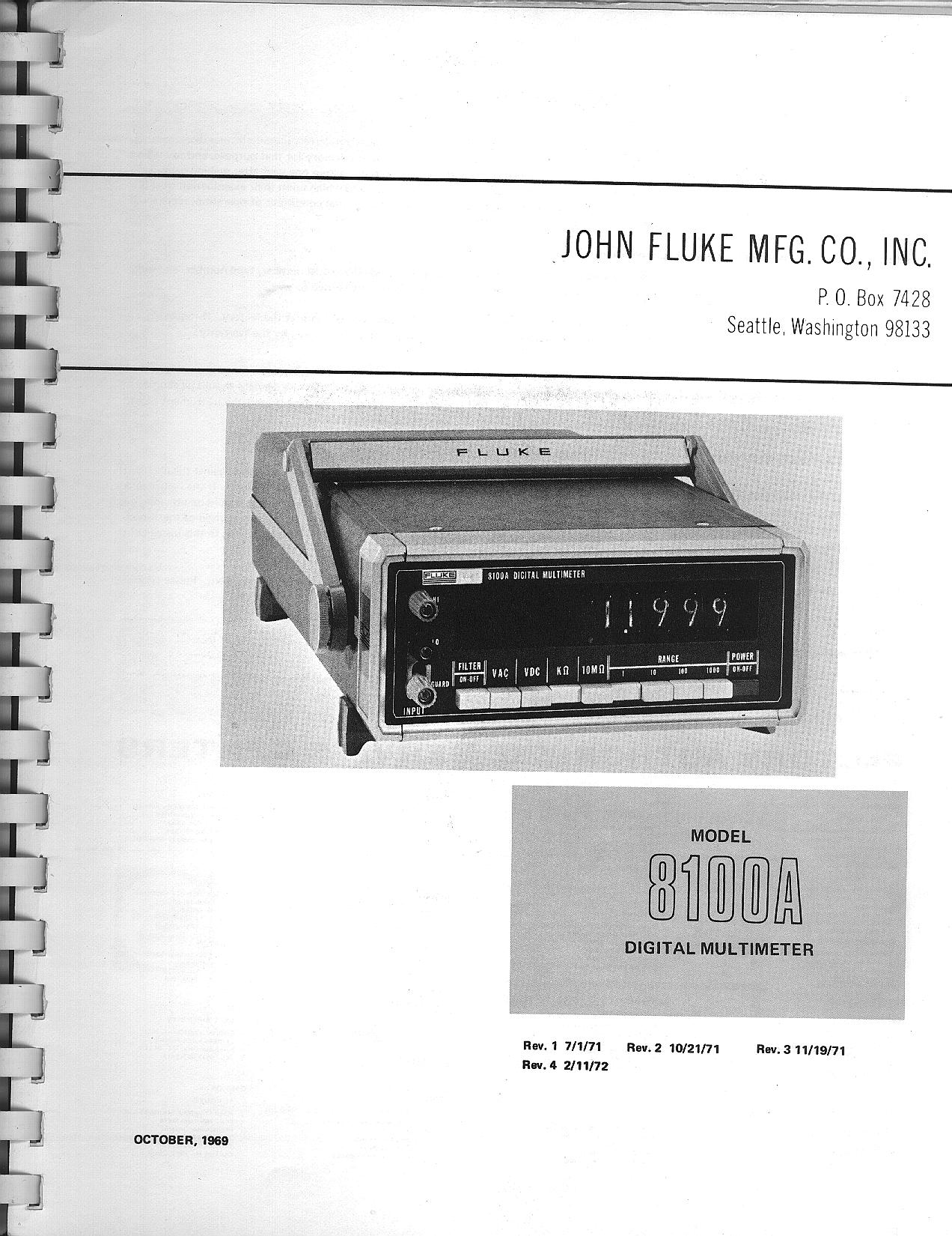Fluke 8100a And 8100b Schematics Manual Voltmeter Schematic Title Page
